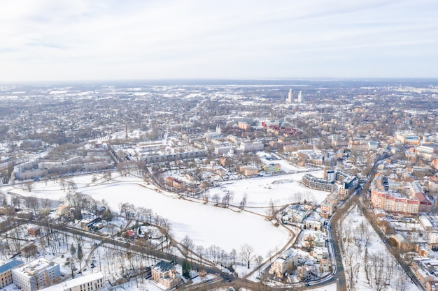 Aerial view of riga city in latvia in winter