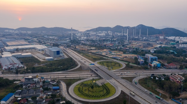 Aerial view ring road industry and oil refinery production plant background in thailand
