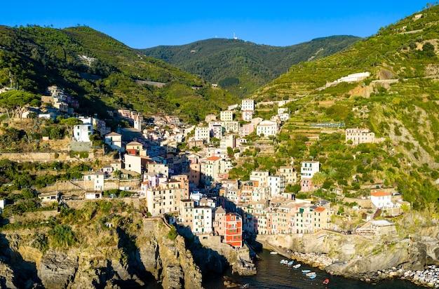 Aerial view of riomaggiore village at the cinque terre, in liguria, italy