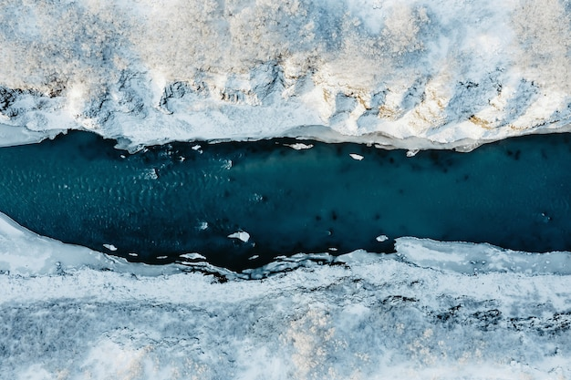 Aerial view of a river in iceland with turquoise water, melting ice, climate change and global warming concept