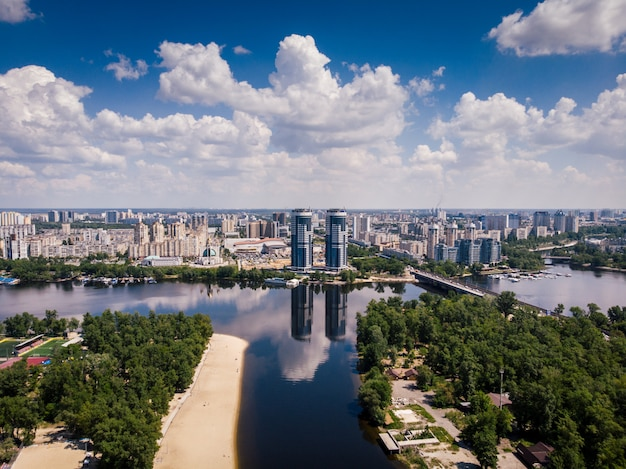 Aerial view on river, islands and skyscrapers in kiev, ukraine