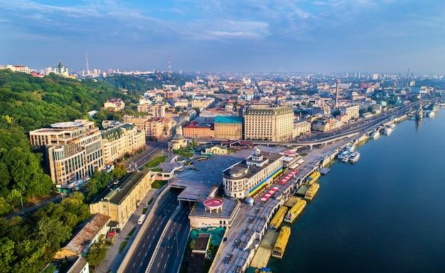 Aerial view of river port, podil and postal square in kiev, the capital of ukraine