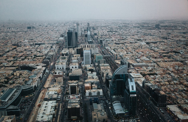 Aerial view of riyadh downtown at the evening