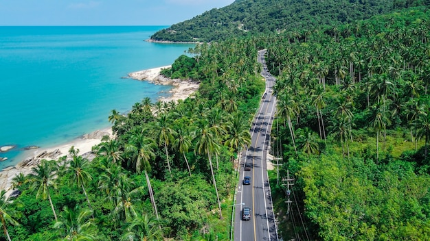 Aerial view of road and beach between khanom and sichon, nakhon si thammarat, thailand