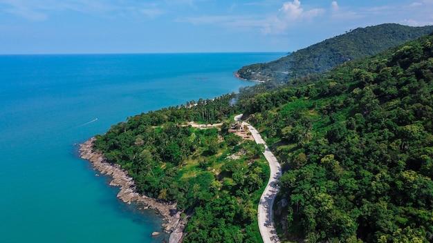 Aerial view of road and beach between khanom and sichon, nakhon si thammarat, thailand
