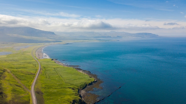 Aerial view of road at coast of west land in iceland, summertime