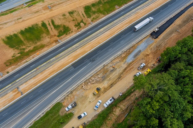 Aerial view of the road under construction intersection highway reconstruction in south carolina usa