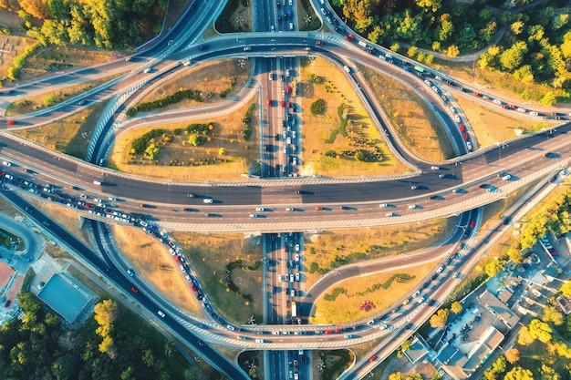 Aerial view of road in modern city at sunset in summer. top view of traffic in highway junction. landscape with cars on elevated road, green trees. interchange overpass. busy intersection. rush hour