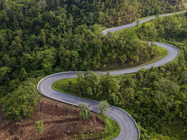Aerial view road in mountain