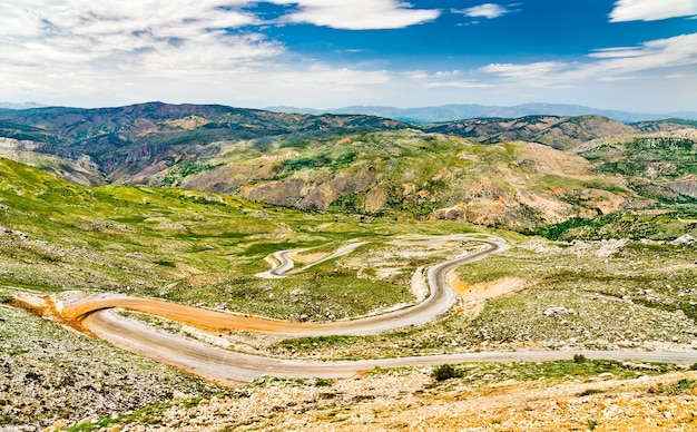 Aerial view of a road to nemrut dagi in the mountains of turkey