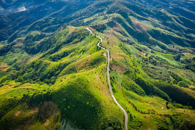 Aerial view road way on the green mountain peak in the rain season  morning time