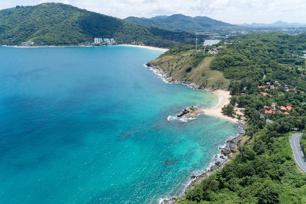 Aerial view of rocky coastline in phuket island beautiful sea in sunny summer day tourism and vacations concept.