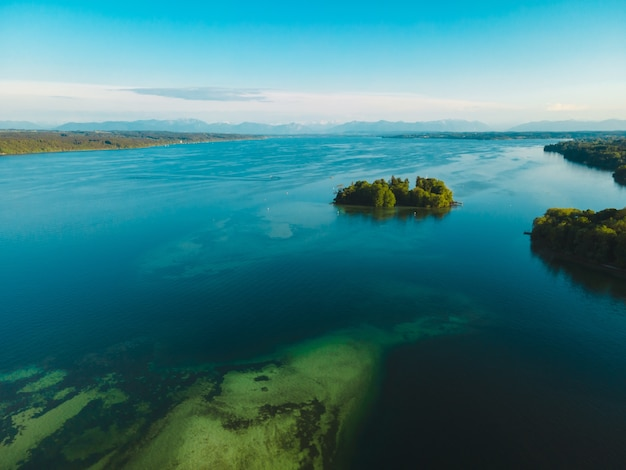 Aerial view of the rose island in lake starnberg