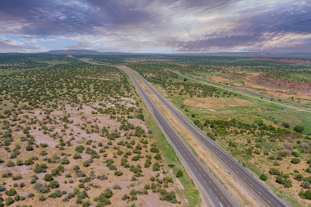 Aerial view over route 66 desert highway road in new mexico us