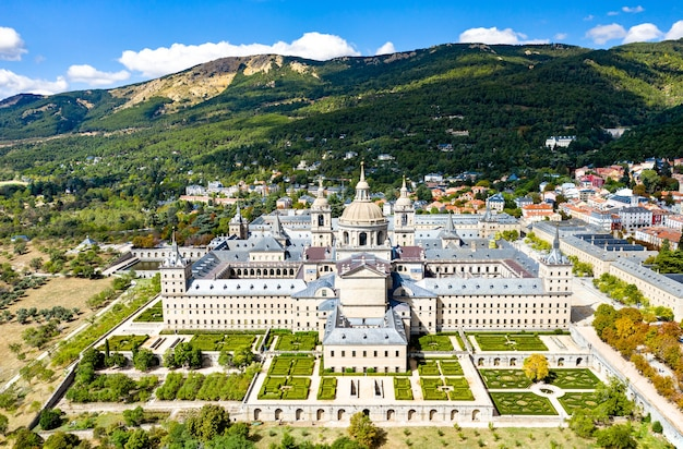 Aerial view of the royal monastery of san lorenzo de el escorial near madrid, spain