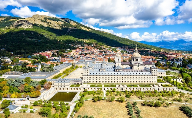 Aerial view of the royal monastery of san lorenzo de el escorial near madrid, spain