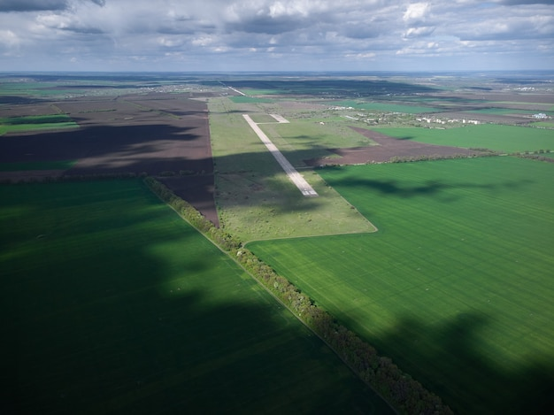 Aerial view of runway of an abandoned military airfield in ukraine, nopeople