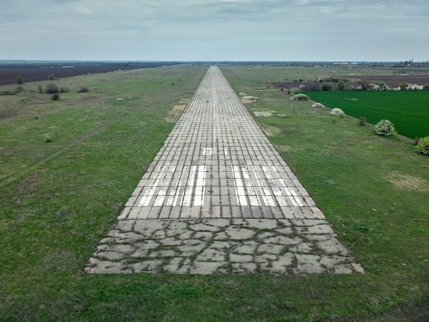 Aerial view of runway of an abandoned military airfield in ukraine