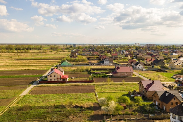 Aerial view of rural area in town with houses