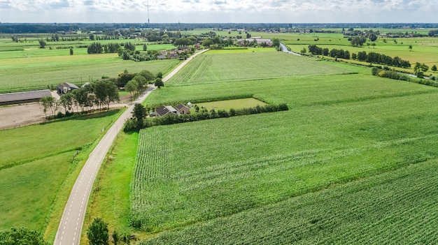 Aerial view of rural landscape, netherlands