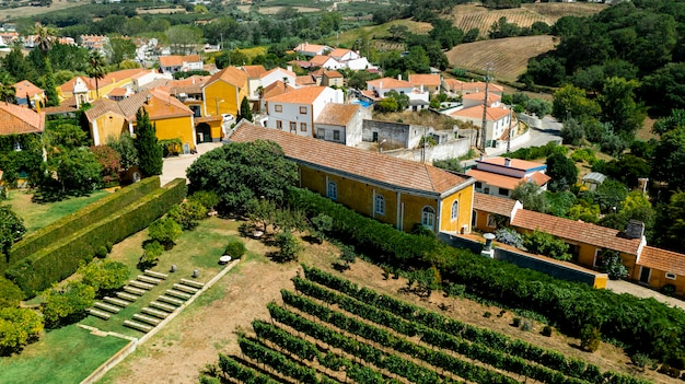 Aerial view to rural landscape with colourful houses