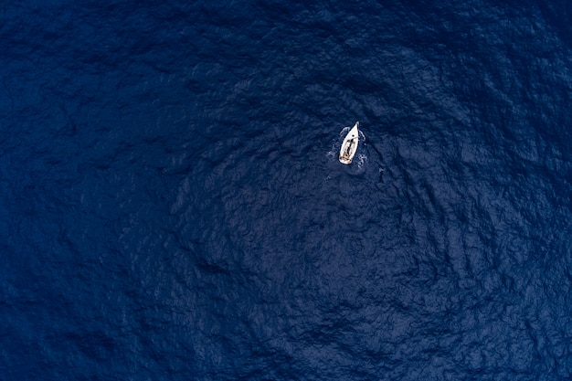 Aerial view of a sailboat