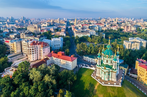 Aerial view of saint andrew church. the old town of kiev, ukraine
