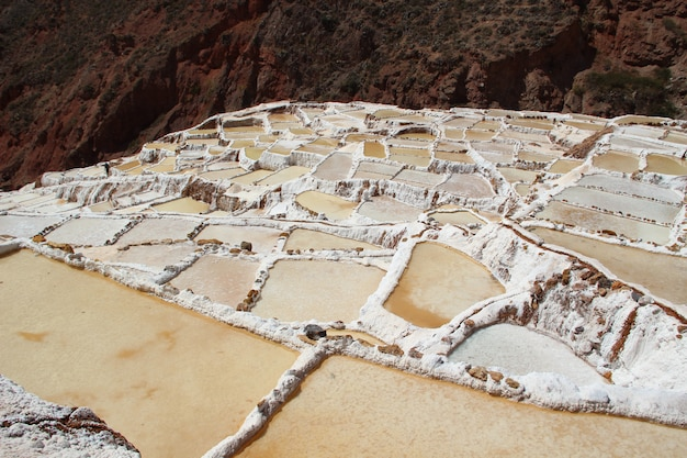Aerial view of the salt mines of maras, peru