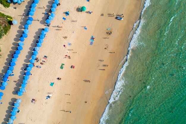 Aerial view sand beach of phuket thailand