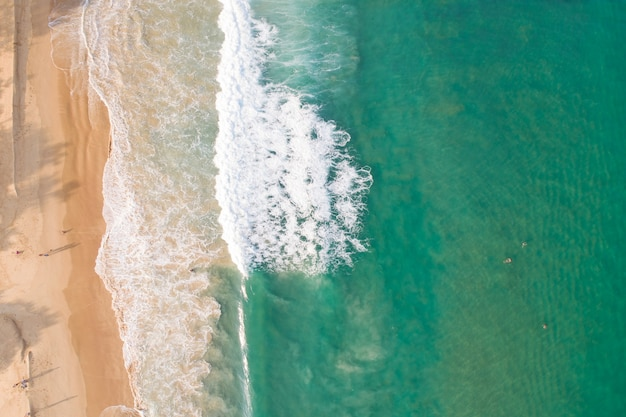 Aerial view sandy beach and waves beautiful tropical sea in the morning summer season image by aerial view drone shot high angle view top down.