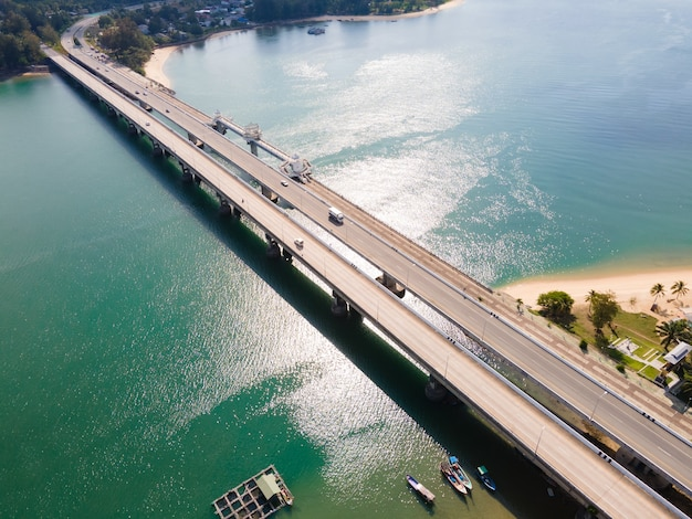 Aerial view of sarasin bridge in the sea high way road transportation on sea water