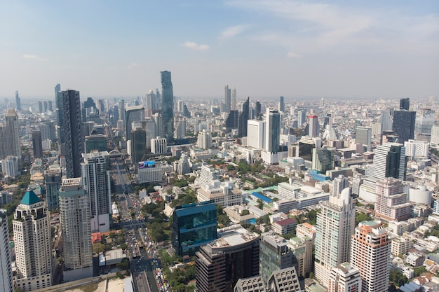 Aerial view of sathon road, important business area in bangkok thailand
