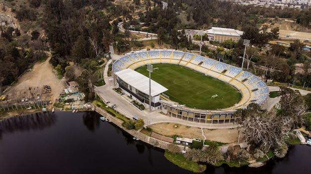 Aerial view of sausalito soccer stadium at vina del mar, chile
