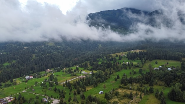 Aerial view of scenic landscape in mountains of romania.
