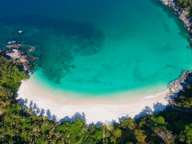 Aerial view of sea blue water beautiful beach.
