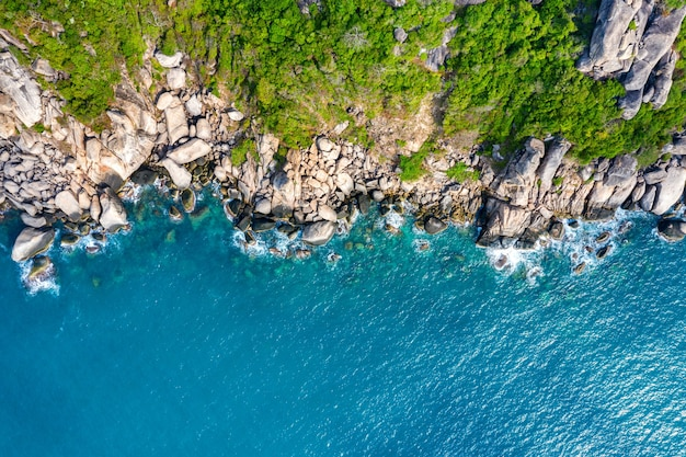 Aerial view of seashore at koh tao island, thailand