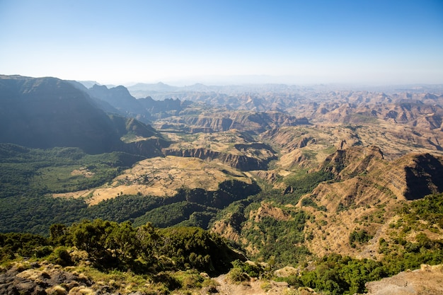 Aerial view of the semien mountains, ethiopia, horn of africa
