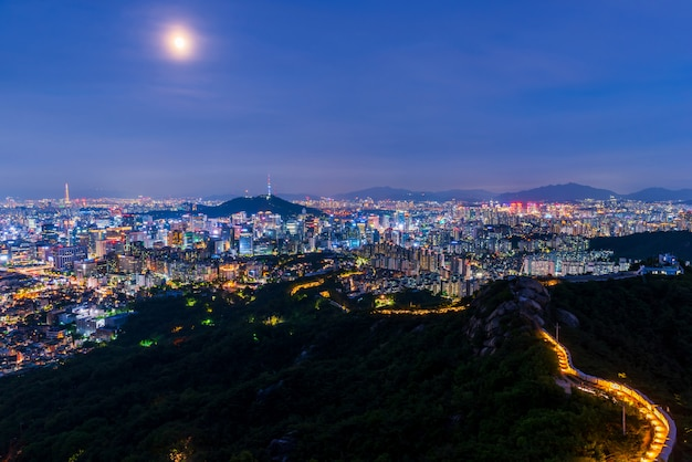 Aerial view of seoul city at night, south korea.