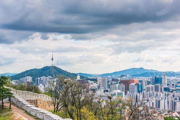 Aerial view of seoul city skyline, south korea