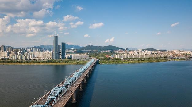 Aerial view of seoul city, south korea.