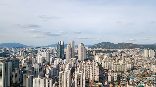 Aerial view of seoul city