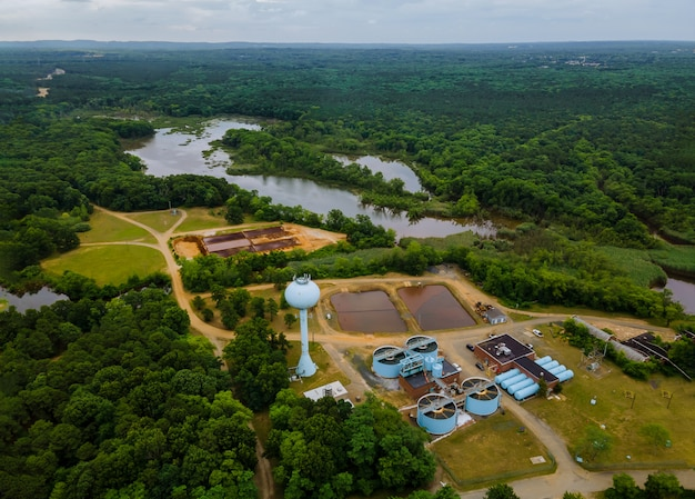 Aerial view of sewage treatment plant industrial of water treatment