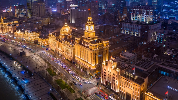 Aerial view shanghai at night. the bund in shanghai is a famous waterfront area in central shanghai at night, china.