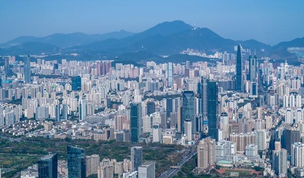Aerial view of shenzhen city landscape
