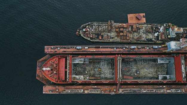 Aerial view of a ship