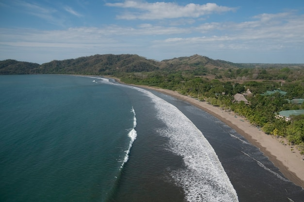Aerial view of the shoreline of costa rica