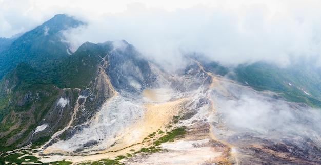 Aerial view sibayak volcano, berastagi, sumatra, indonesia.