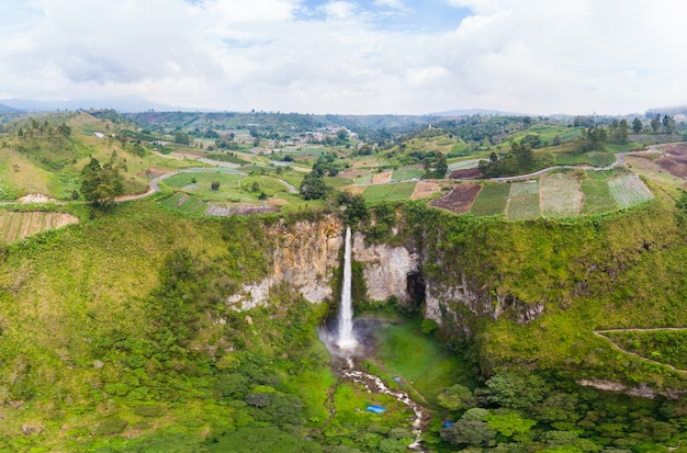 Aerial view sipiso-piso waterfall in sumatra, travel destination indonesia.