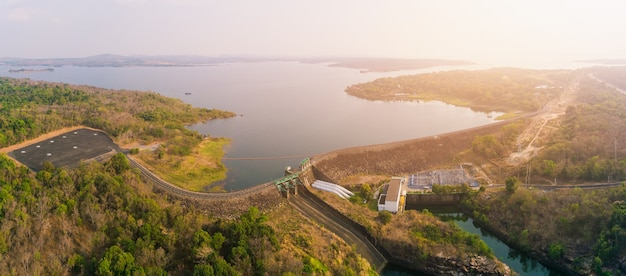 Aerial view of sirindhorn dam in ubon ratchathani