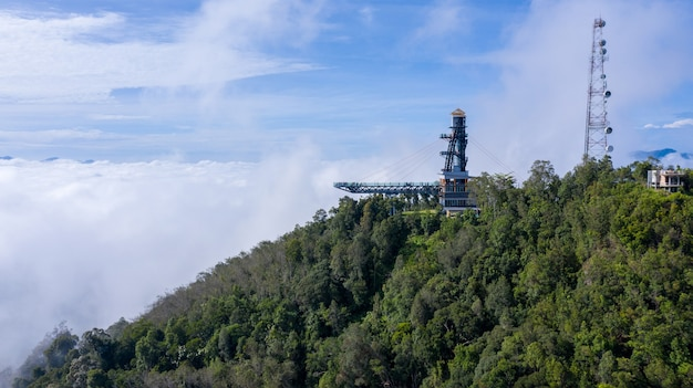 Aerial view of skywalk sea of mist at ai yerweng,betong yala,thailand 2020 , it is very popular now.